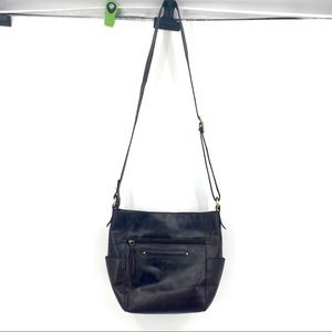 Nino Bossi brown distressed leather crossbody